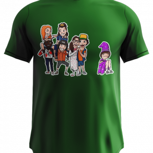 tshirt showing a group of cartoon people